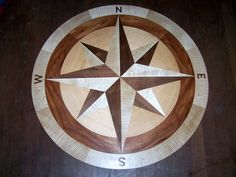"images of wood floors with a compass rose incorporated | 36"" floor compass rose inlay photo z.jpg"