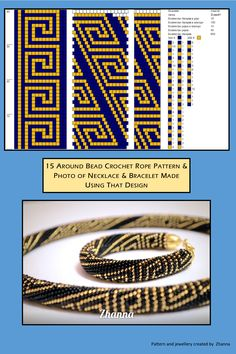 15 around bead crochet rope pattern and a photo showing what the completed necklace and bracelet looks around bead crochet rope pattern and photo of finished necklace. I combined them as it is useful to see the finished piece next to the pattern w Crochet Bracelet Pattern, Loom Bracelet Patterns, Crochet Beaded Bracelets, Bead Crochet Patterns, Beading Patterns Free, Bead Crochet Rope, Beaded Jewelry Patterns, Seed Bead Bracelets Tutorials, Beaded Bracelets Tutorial