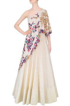 MONIKA NIDHII Vanilla Color One Shoulder Gown With Embroidered Aymmetric Cape