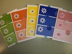 paint chip card - Google Search Paint Sample Cards, Paint Chip Cards, Paint Samples, Strip Cards, Handmade Paint, Paint Swatches, Card Making Techniques, Flower Cards, Art Plastique