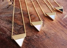 Geometric triangle Pastel Necklace/ gold/ Layering/ gift for her / bridesmaid gift / Tiny Gold Triangle Necklace / everyday necklace/ Pastel Triangle Necklace, Geometric Necklace, Arrow Necklace, Gold Necklace, Handmade Shop, Etsy Handmade, Handmade Jewelry, Everyday Necklace, Minimal Jewelry