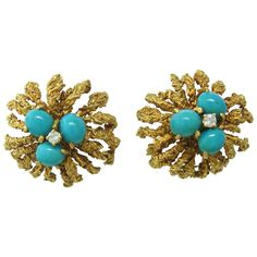 1970s Gold Turquoise Diamond Earrings | From a unique collection of vintage more earrings at http://www.1stdibs.com/jewelry/earrings/more-earrings/