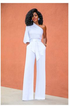 Classy Dress, Classy Outfits, Fancy Dress, White Jumpsuit Formal, Jumpsuit Formal Wedding, White Outfits For Women, All White Party Outfits, Look Fashion, Fashion Outfits