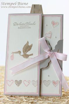 Stampin' Up Das schönste Geschenk, Language of Love, Babykarte zur Geburt basteln, Karte mit Stanze gewellter Anhänger, Stampin' Up Katalog ...