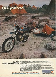 1974 Harley Davidson SX-175 All New Motorcycle Camping In Desert Ad