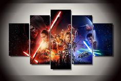 Style Your Home Today With This Amazing 5 Piece Multi Panel Modern Home Decor Framed Star Wars Movies Canvas Art For $30.00  Discover more canvas selection here http://www.octotreasures.com  If you want to create a customized canvas by printing your own pictures or photos, please contact us.