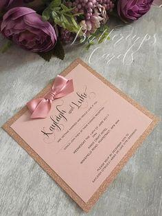Rose Gold Glitter and Blush Pink Invitation Wedding