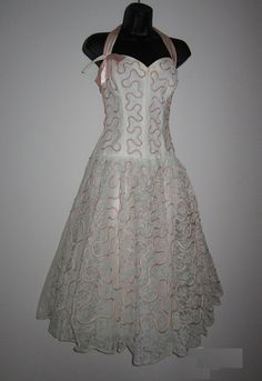 1950′s Pink Vintage Dress, Prom Dress, From the Chief Blonde's own Collection, Pink Satin Swirls sewn over lace, over tulle then over satin. No Label. Find more beautiful Pink Vintage dresses here:  http://stillblondeafteralltheseyears.com/category/vintage-dresses/