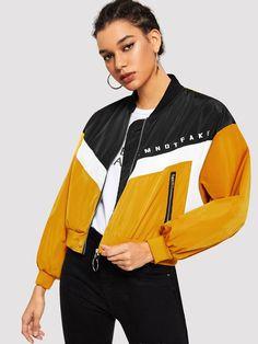 cut and sew zip up letter print jacket. #jackets #coatsjackets #women #fashion