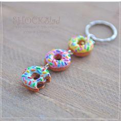 polymer clay keychain donuts