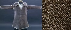 St. Wenceslaus (Vaclav) hauberk, the oldest known complete European riveted mail hauberk, first part of the 10th c, alternating round riveted and solid (punched) rings,  the wire is said to be 0.75 mm in dia., with an inner dia. of 5-6 mm (external dia. of 6.5-7.5 mm). The rings are worn, with numerous repairs, the wire might have originally been about 1mm in diameter. It is in the collection of the church treasury of St. Vitus Cathedral in Prague, Czech Republic.