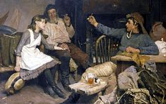 Frank Bramley, R.A. - Every One His Own Tale,1885