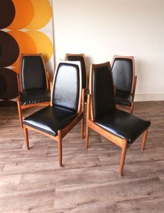 Set of 5 Black Danish Style Retro Vintage Chiswell Teak Dining Chairs in Home & Garden, Furniture, Chairs | eBay!