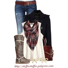 """""""Navy, Red & Plaid"""" by steffiestaffie on Polyvore"""
