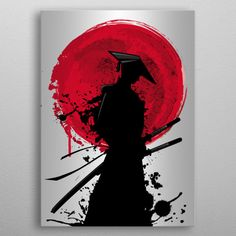 samurai detailed, premium quality, magnet mounted prints on metal designed by talented artists. Samurai Drawing, Samurai Artwork, Samurai Tattoo, Japanese Artwork, Japanese Tattoo Art, Samurai Wallpaper, 1 Tattoo, Demon Tattoo, Hip Hop Art