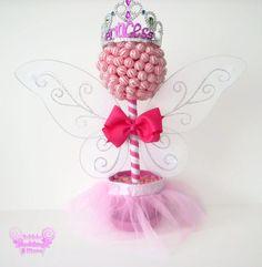 Rosa princesa de hadas Lollipop Topiary centro por EdibleWeddings, $49.99