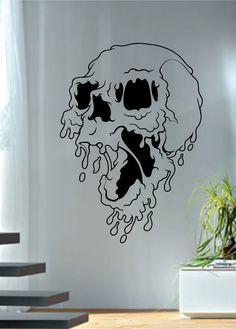 Melting Skull Art Decal Sticker Wall Vinyl - red