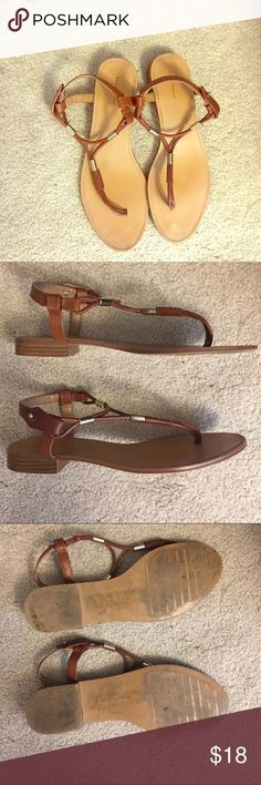 Zara Brown Sandals with Gold Details 7.5 Zara Sandals used but lots of life left. Brown with gold detail. Condition shown accurately in pics. Fits a size 7.5. Zara Shoes Sandals