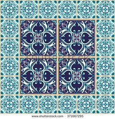 Vector seamless texture. Beautiful colored pattern for design and fashion with decorative elements and border. Portuguese tiles, Azulejo, Talavera, Moroccan ornaments in blue colors - stock vector