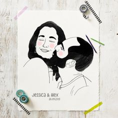 Your custom couple portrait - Original Print + Digital File - Unique and Personalized gift for Birthday, Wedding, Christmas