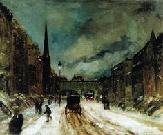 "Robert Henri, Street Scene with Snow, 26"" x 32"""