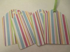 4 Pastel Striped Themed Handmade Gift Tags by jenuinecraftsandmore