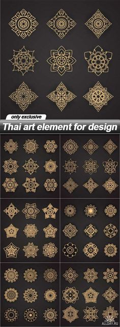 Thai art element for design - 6 EPSYou can find Thai art and more on our website.Thai art element for design - 6 EPS Mandala Design, Mandala Art, Geometric Mandala, Henna Designs, Designs To Draw, Tattoo Designs, Tattoo Ideas, Elements Of Art, Design Elements