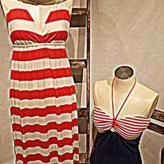 vestido rojo rayas