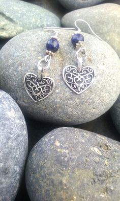Lapis lazuli drops silver filigree earrings by TheLoveOfEarrings