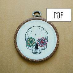 Succulent Skull Hand Embroidery Pattern succulent von ALIFERA