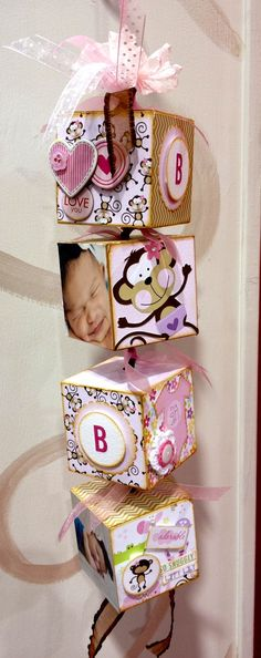 Mod Podge pictures of family and friends on wooden blocks with alphabet letters.  I love it!