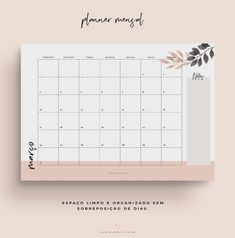 Planner Mensal 2019 Minimalista – Oh My Closet! Monthly Planner Printable, Planner Template, Free Planner, Study Planner, Planner Book, Calendar 2019 Planner, Closet Planner, Agenda Planner, Blank Calendar