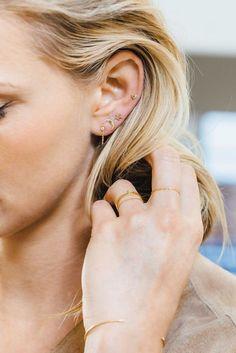 Hammered Argentium Silver Ear Cuff, Non-Pierced Earring, Faux Conch Piercing - Custom Jewelry Ideas Daith Piercing, Full Ear Piercings, Types Of Ear Piercings, Moon Earrings, Cuff Earrings, Simple Earrings, Silver Hoop Earrings, Silver Ear Cuff, Sterling Silver Hoops