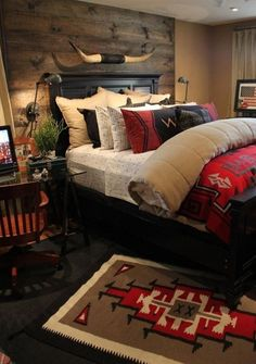 Decorating The Western Style Home - decoration,wood,wood working,furniture,decorating Br House, Cozy House, Cozy Cabin, Ranch Decor, Home Bedroom, Master Bedroom, Bedroom Retreat, Red Bedroom Decor, Cabin Bedrooms