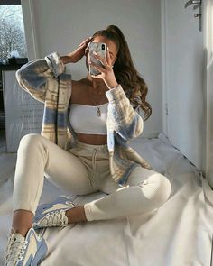 onlypuff Pocket Shirts for Women Casual Loose Fit Tunic Top Baggy Comfy Blouse Teen Fashion Outfits, Outfits For Teens, Look Fashion, Fall Outfits, Party Outfits, Work Outfits, Fashion Women, Vegas Outfits, Birthday Outfits