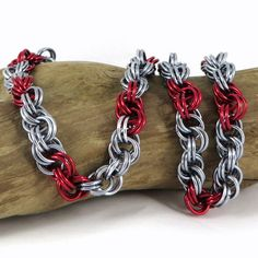 Chainmail Necklace Spiral Weave Red and Black by HCJewelrybyRose, $24.00