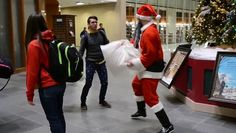 "While getting ready for Christmas, ""Santa"" decided to pay a visit to Liberty University and have a random pillow fight with a bunch of students."