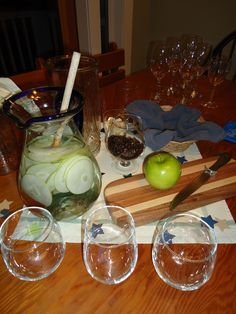 Water, Granny Smith Apples, Bread, Crackers to clear your tounge, Coffee beans to clear your nose