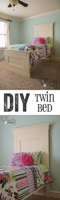 AMAZING DIY twin bed with free plans… LOVE this bed!  www.shanty-2-chic.com