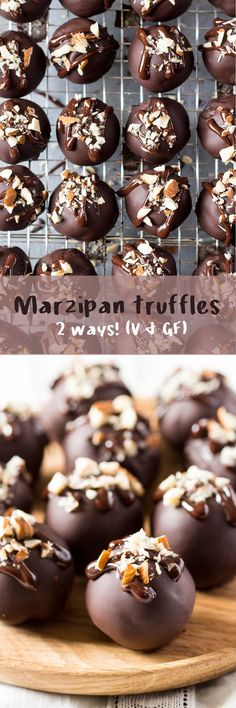 Vegan marzipan truffles - 2 ways - Lazy Cat Kitchen - Dessert Recipes Vegan Dessert Recipes, Almond Recipes, Gluten Free Desserts, Sweets Recipes, Delicious Recipes, Free Recipes, Coconut Dessert, Oreo Dessert, Truffle Dessert