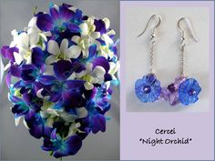 """Night orchid"" earrings, handmade by Sirius Bijoo"