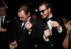 Benedict Cumberbatch and Michael Fassbender dancing at the Golden Globes