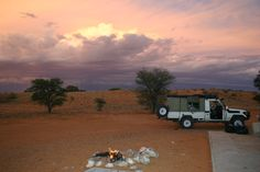 Sunset over Rooiputs camp site Kgalagadi Transfrontier Park Lake Camping, Campsite, Outdoor Camping, Africa Travel, Us Travel, Future Travel, Nature Reserve, Horseback Riding, Toyota Land Cruiser