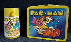 1980 PacMan Metal Lunch Box With Thermos