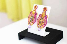 Unique pink and yellow Soutache EarringsOOAK by PerlEeDintornI, €55.00