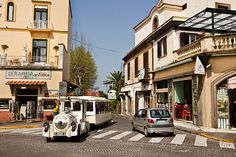 Little white train carries visitors from the upper levels of Sorrento to the seaside beaches and marinas