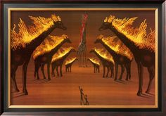Burning Giraffes in Brown by Salvador Dali