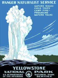 """Old Faithful erupts in this circa 1938 National Park Service silkscreen for Yellowstone National Park. Vintage travel poster."""