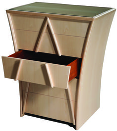 This masterly flared chest of drawers is enhanced by a pointed overlay.