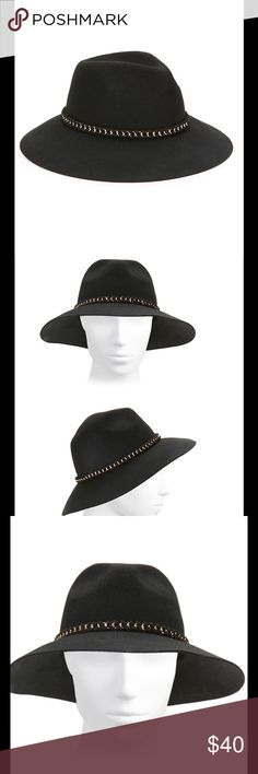 "Felt Fedora Style Black Hat w/ Chain Link Band Stay in style throughout the year as we go into fall with a fashionable fedora wool hat with a chain link detail. A chic wool fedora hat with chain-link accent😘 Brim, about 3.25"", Wool, Spot clean, Imported.  082920171479586 August Hats Accessories Hats"